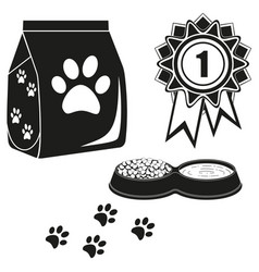 black and white cat care poster silhouette vector image