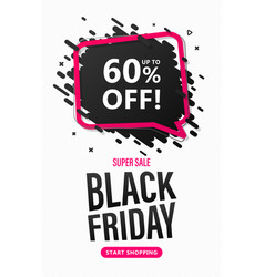 black friday sale flyer with speech bubble vector image