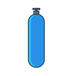 blue oxygen gas tank flat line vector image