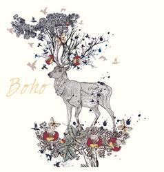 boho hand drawn deer flowers in it horns vector image