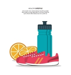 Bottle orange juice healthy lifestyle vector