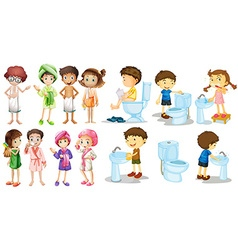 Boys and girls in bathrobe vector image
