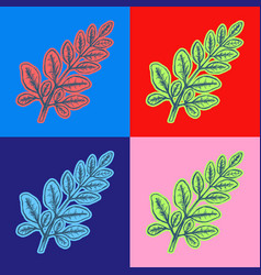 Branch with leaves pop art style andy warhol style vector