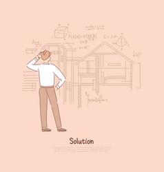 Builder considering engineering solution vector