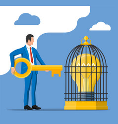Businessman open cage with idea bulb vector