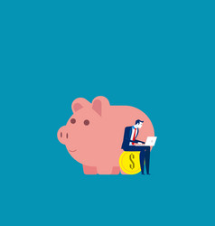 businessman working near piggy concept business vector image
