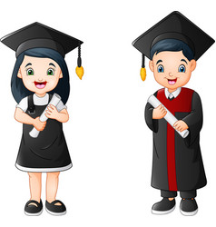 Cartoon boy and girl in graduation costume vector