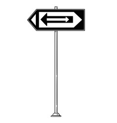 cartoon drawing of traffic sign with arrows vector image