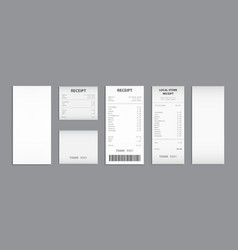 Cash receipt on clipboard paper bill invoice set vector