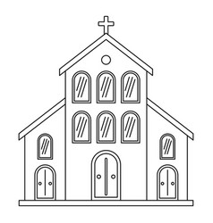 catholic church icon outline style vector image