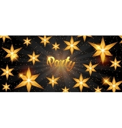 Celebration party banner with golden stars vector image