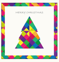 christmas tree card on colorful square pattern vector image