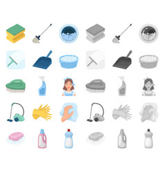 Cleaning and maid cartoonmono icons in set vector