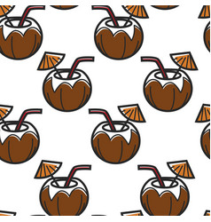 coconut cocktail with straw and umbrella seamless vector image