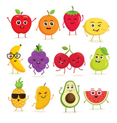 collection of cute fruits vector image