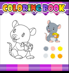 coloring book mouse holding cheese cartoon vector image