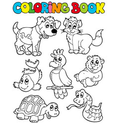 Coloring book with pets 2 vector