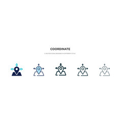 Coordinate icon in different style two colored vector