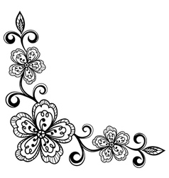 corner ornamental lace flowers black and white vector image