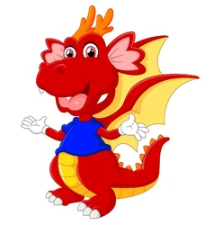 cute cartoon baby dragon vector image