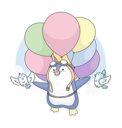cute penguin can fly with birds and use balloon vector image