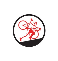 Cyclocross Athlete Running Uphill Circle vector image
