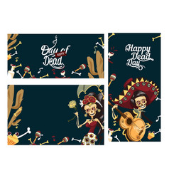 day of the dead people skeletons party poster vector image