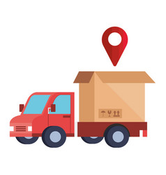 delivery service with truck and box vector image