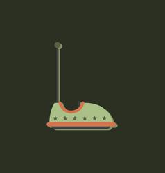 Electric bumper red car flat line icon amusement vector