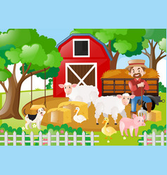 Farm scene with farmer and many animals vector
