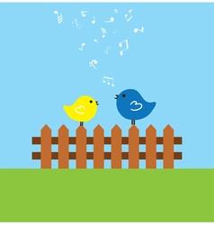 Fence birds vector