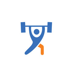Fitness barbel logo vector