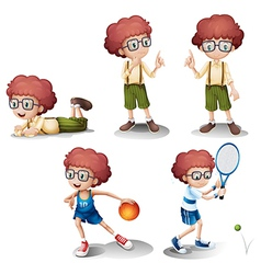Five different activities of a young boy vector