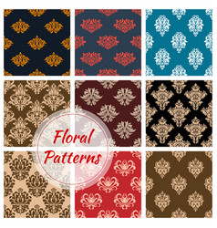 floral damask ornament seamless patterns vector image vector image