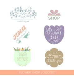Flower shop logos and signs in hand drawn style vector image