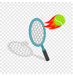 Flying tennis ball isometric icon vector