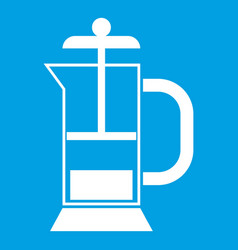french press coffee maker icon white vector image