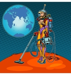 Girl cosmonaut cleaned mars vector