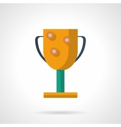 Golden winners cup flat color icon vector