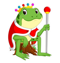 Green frog with using crown vector