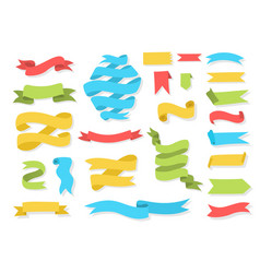 hand drawn banners and ribbons colorful set vector image