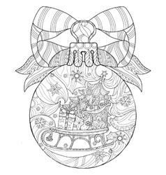 Hand drawn Christmas glass ball doodle sketch vector image