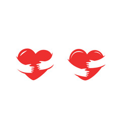 hands holding heart symbol love health charity vector image