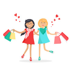 Happy girls with shopping bags friends forever vector