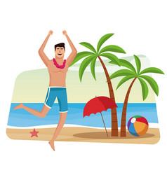 Happy man at beach vector