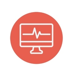 Heartbeat display in monitor thin line icon vector