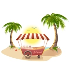 Ice cream truck among palm trees on tropical beach vector