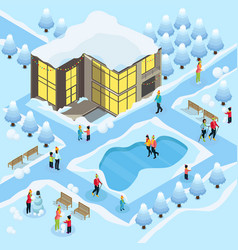 isometric family on winter holidays template vector image