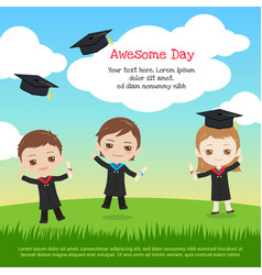 Kids graduation day with boy and girl in gown vector