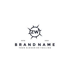 Letter zw compass logo design vector